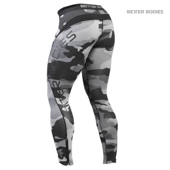 Better Bodies Camo Long Tights, grey camoprint i gruppen Kläder / För Henne / Tights hos Tillskottsbolaget (BB45211GRCAMO)