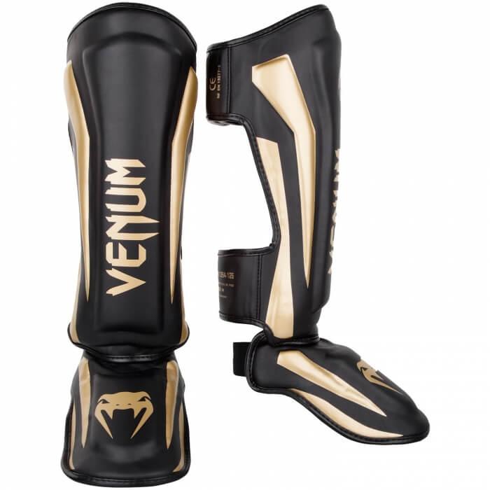 Venum Elite Standup Shin Guards, black/gold